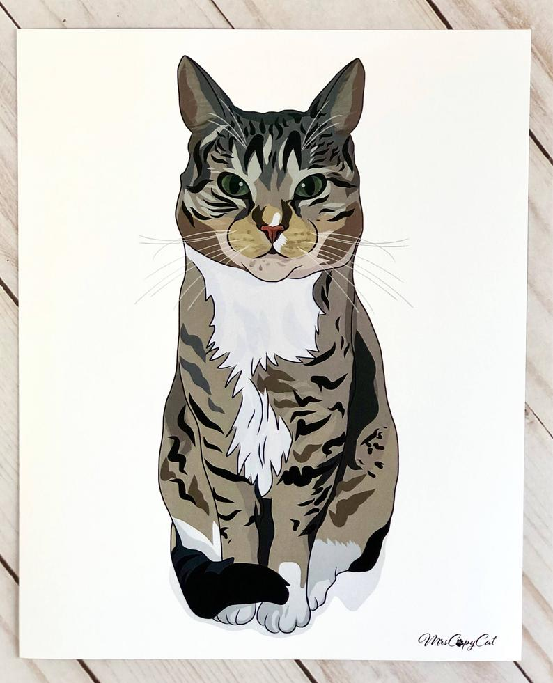 794x981 gray tabby cat art print striped cat poster cool cat stuff cat etsy