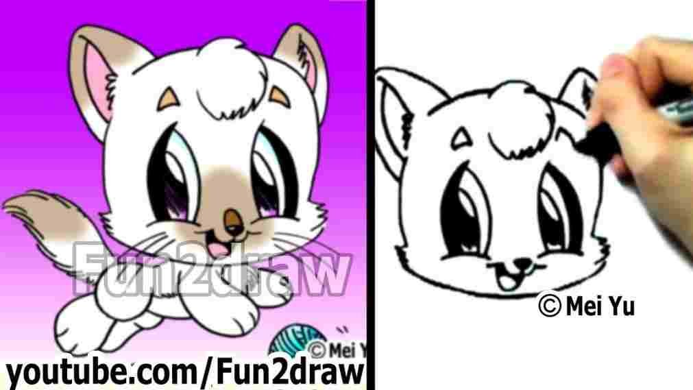 1011x569 To Draw A Cute Kitten Face Tabby Cat Drawing Art