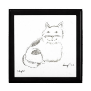 307x307 cat drawing gift boxes keepsake boxes zazzle