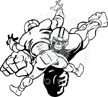 361x326 Football Tackle In Black And White