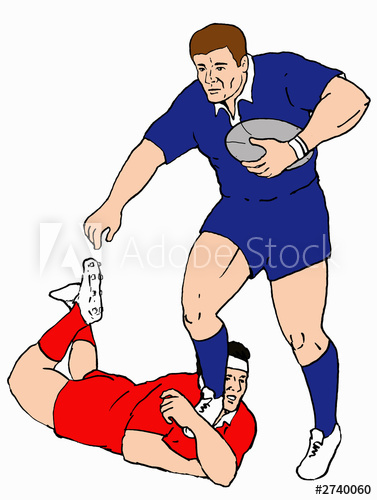 377x500 Rugby Player Tackle Line Drawing Colour