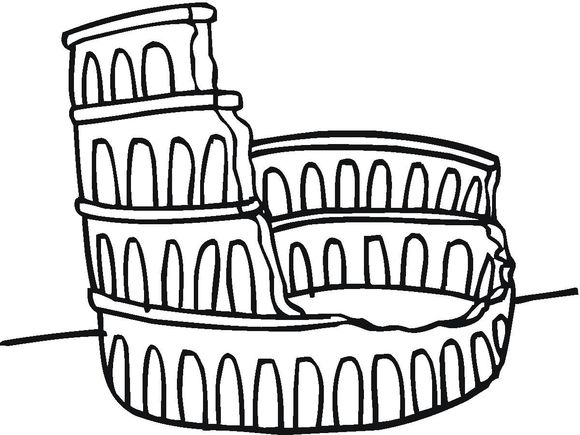 580x435 How To Draw The Colosseum For Kids