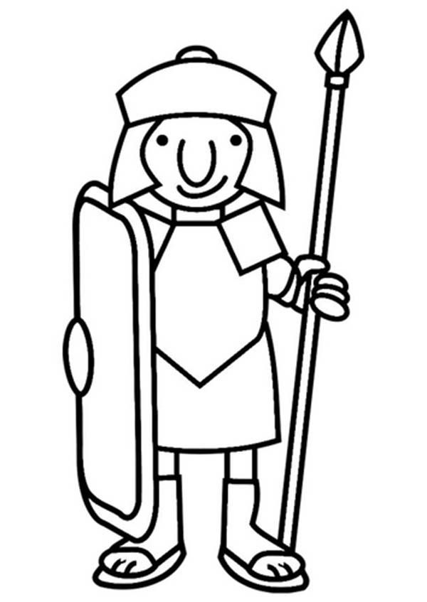 600x847 A Cartoon Drawing Of Roman Soldier From Ancient Rome Coloring