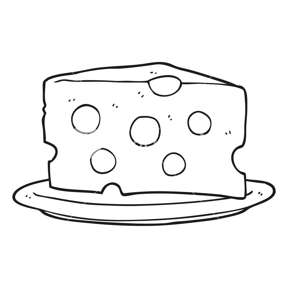 1000x1000 Freehand Drawn Black And White Cartoon Cheese Royalty Free Stock