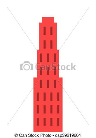 329x470 Flat Design Single Tall Building Icon Vector Illustration