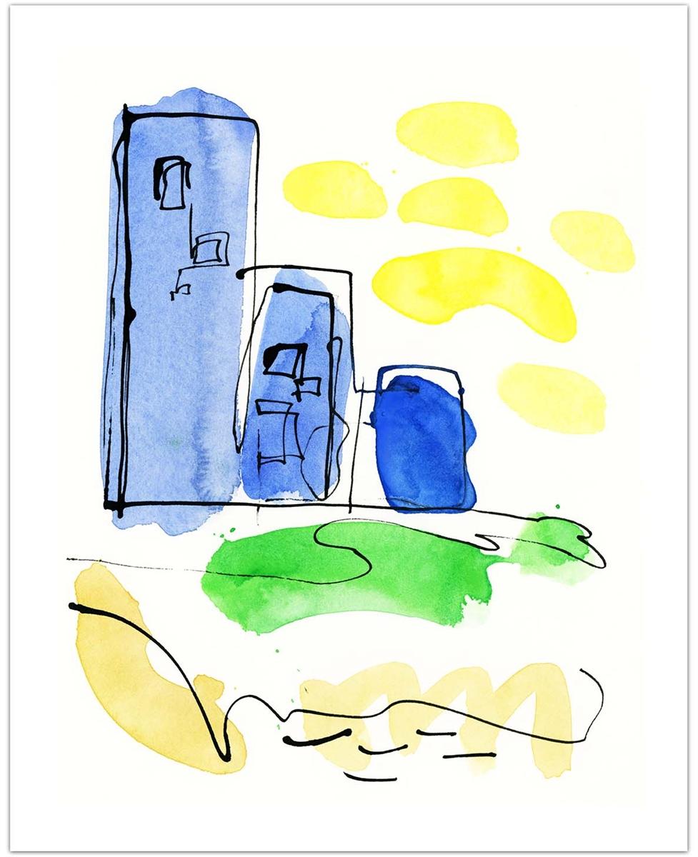 977x1200 River City Fine Art Print Contemporary Watercolor Of Tall