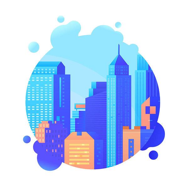 600x600 Skyscraper And Modern Tall Buildings Vector Illustration Urban