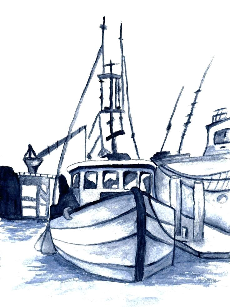 736x983 boat drawing boat on water fishing boat drawing easy