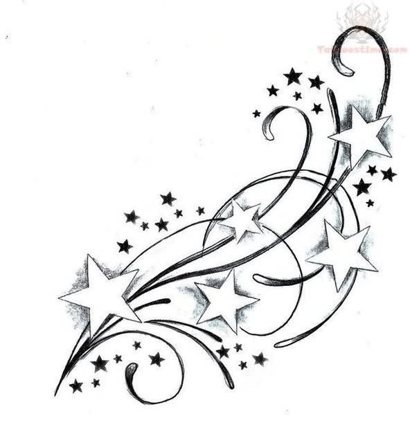 592x640 Feminine Cute Swirly Star Tattoos Designs