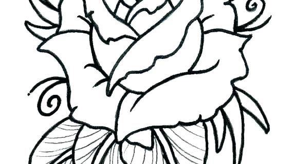 570x320 Drawing Of A Simple Rose Simple Rose Outline Tattoo Designs