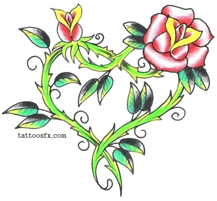 736x681 Roses And Heart Drawings Banner Roses Tattoo Design Rose Heart