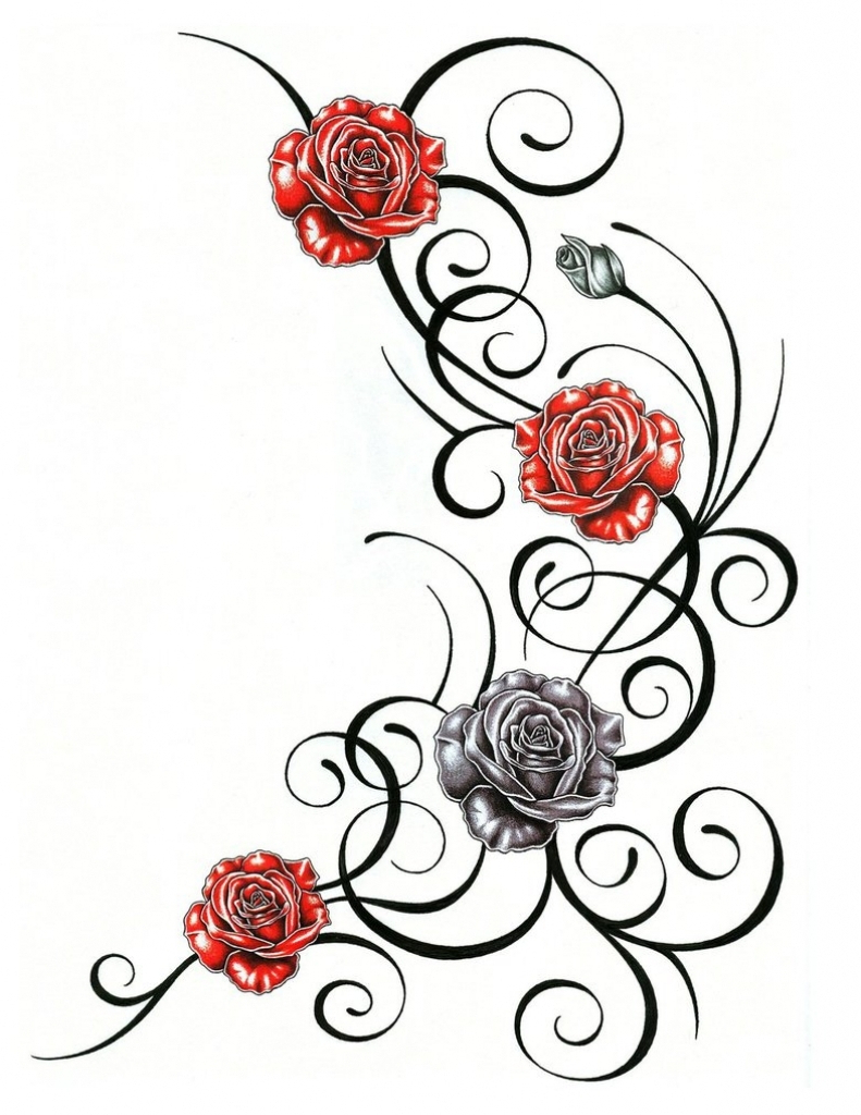 791x1024 Temporary Roses A Vine Tattoo Designs Ideas With Rose Vi On Tribal