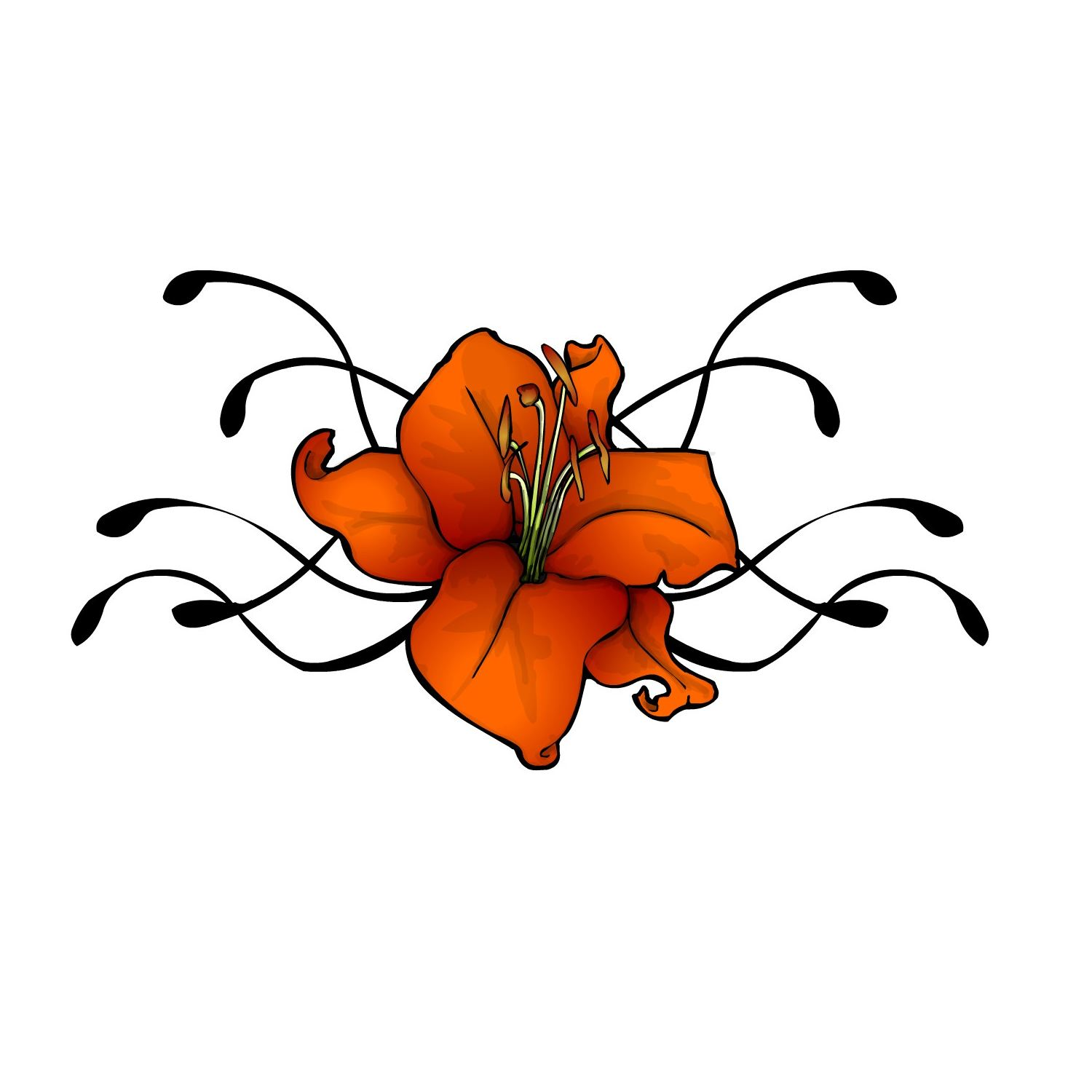 1500x1500 Tattoo Flower Designs Lily Flowers Tribal Orange Red And Yellow White