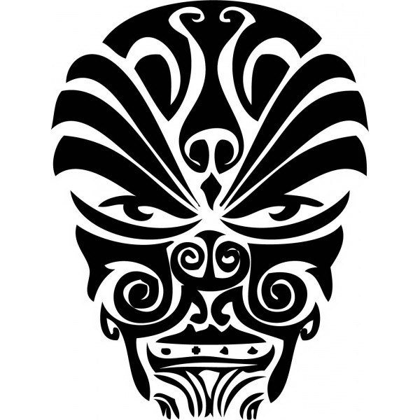 600x600 Drawing Maori Mask Tattoo Tribal
