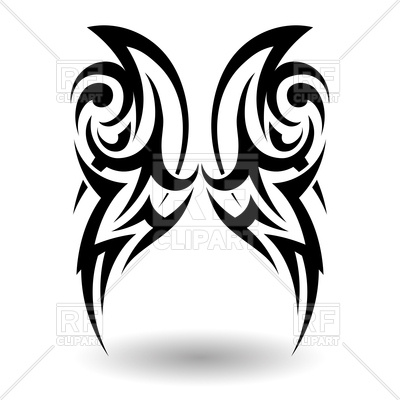 400x400 Hand Drawn Wings Tribal Tattoo Vector Image Of Design Elements
