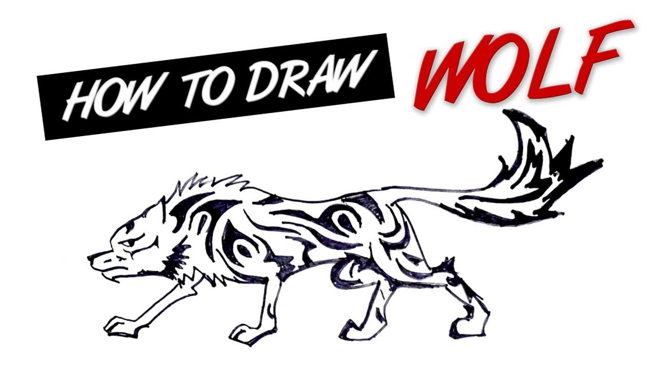 1280x720 How To Draw Wolf Tribal Tattoo Design