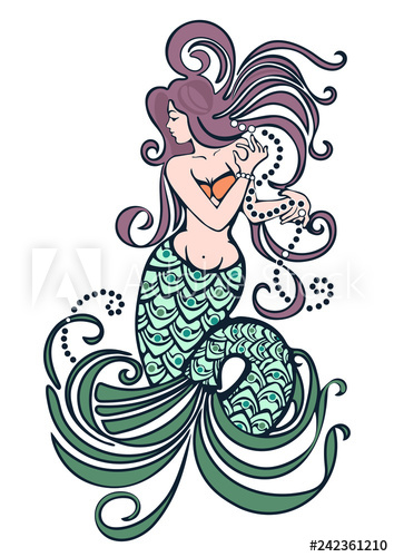 354x500 Mermaid Hand Drawn, Colorful Pastel Drawing, Tattoo Tribal Design