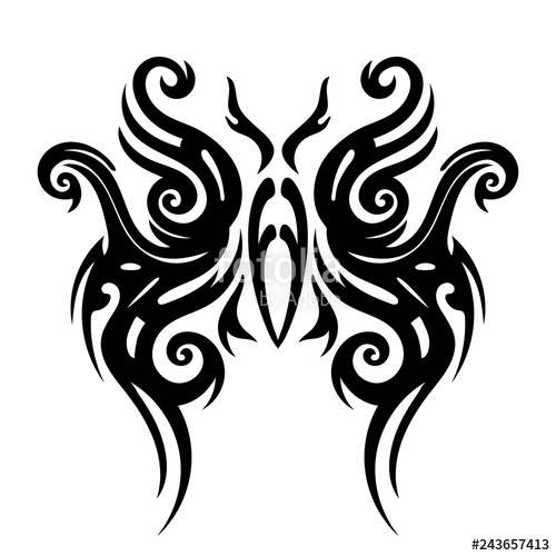 500x500 Tattoo Tribal Design, Stylized Butterflies, Abstract Print, Celtic