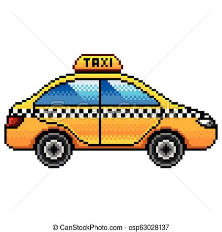 450x470 pixel taxi car detailed illustration isolated vector pixel art