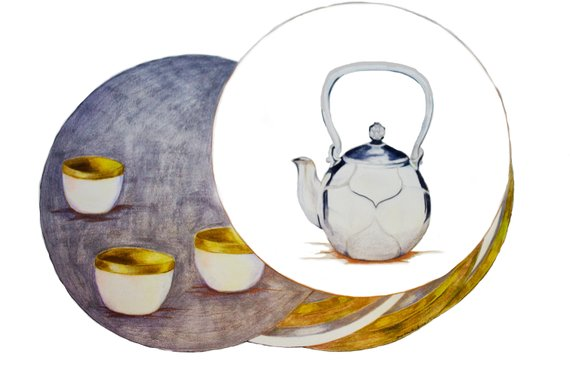 570x380 tea pot with tea cups original drawing stay calm drink tea etsy