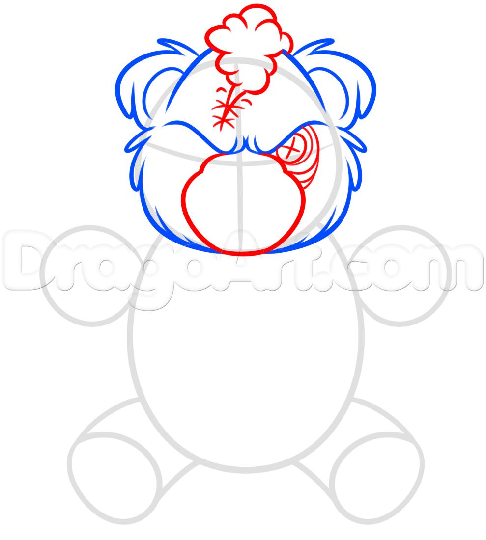 989x1100 How To Draw A Scary Teddy Bear, Step