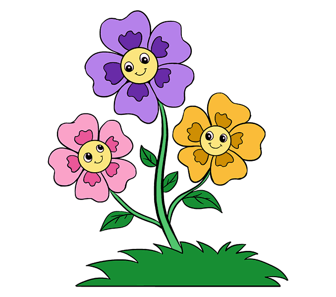 678x600 Cartoon Flower Images How To Draw Cartoon Flowers Easy Step Step