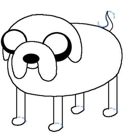 400x436 Easy Dog Drawing Easy Dog Drawing Step Drawing Jake The Dog