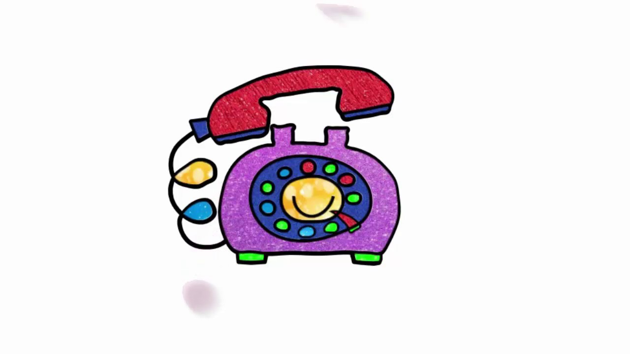1280x720 Hello ! Telephone Line Drawing For Learn Colors And Increase