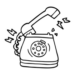 240x240 Line Drawing Cartoon Old Rotary Dial Telephone