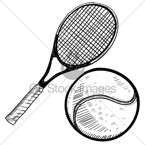 500x500 tennis ball and racquet sketch gl stock images