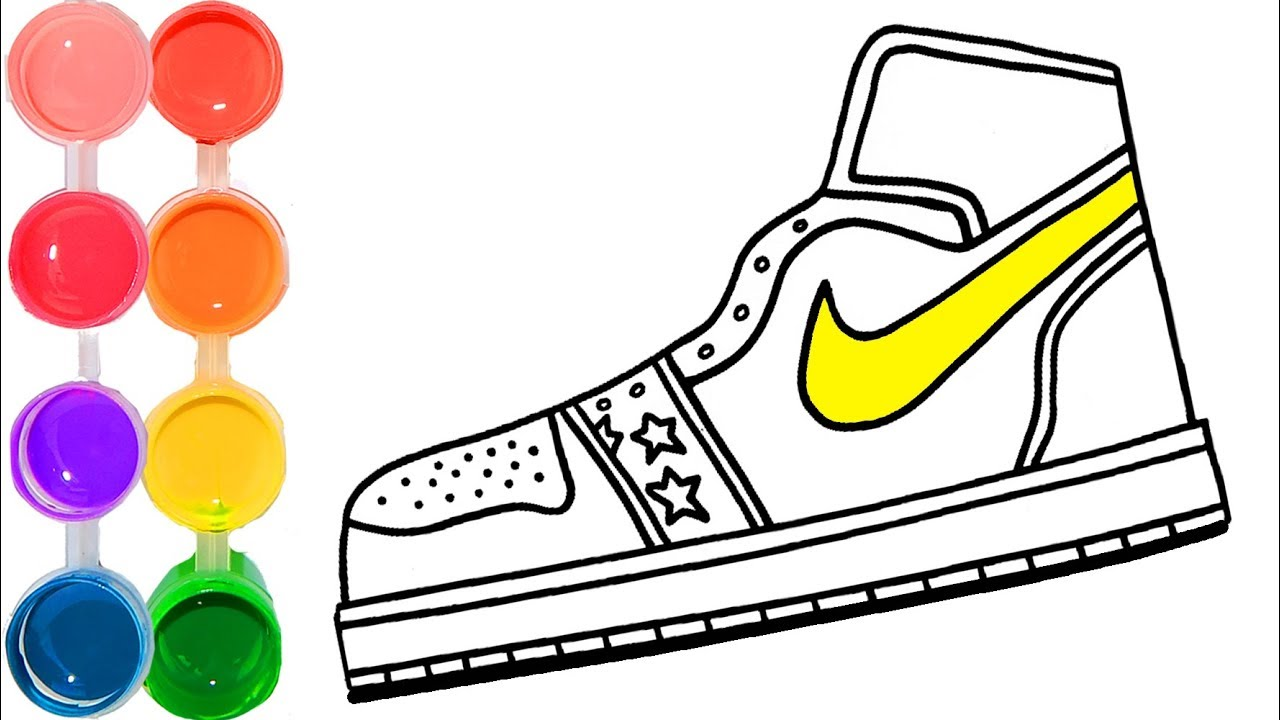 1280x720 How To Draw Color A Nike Air Force Shoe Hipster Tennis Drawing