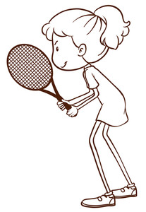 207x300 A Plain Drawing Of A Tennis Player On A White Background Royalty