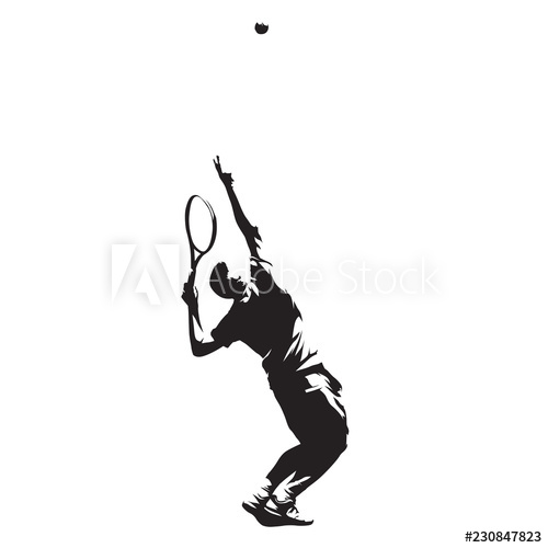 500x500 Tennis Player Serving Ball, Isolated Vector Ink Drawing Vector