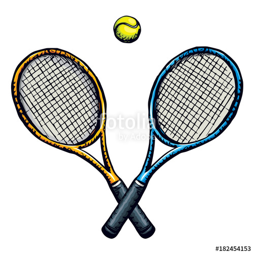 500x500 Tennis Racket And Ball Vector Drawing Stock Image And Royalty