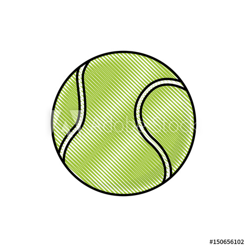 500x500 Drawing Tennis Ball Sport Competition Element Vector Illustration