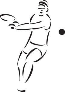 214x300 Illustration Of A Simple Drawing Of A Tennis Player On A White