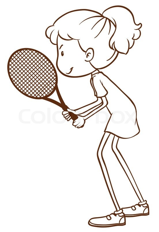 551x800 A Plain Drawing Of A Tennis Player On Stock Vector Colourbox