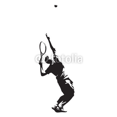 400x400 Tennis Player Serving Ball, Isolated Vector Ink Drawing Vector