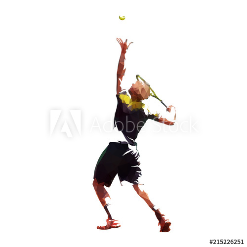 500x500 Tennis Player Serving Ball, Low Poly Vector Illustration Isolated