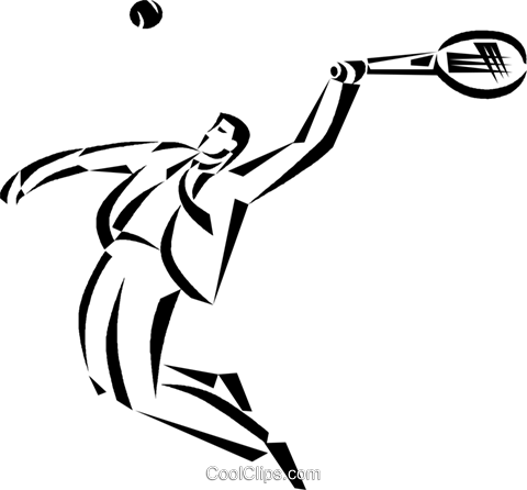 480x446 Businessman Tennis Player Royalty Free Vector Clip Art