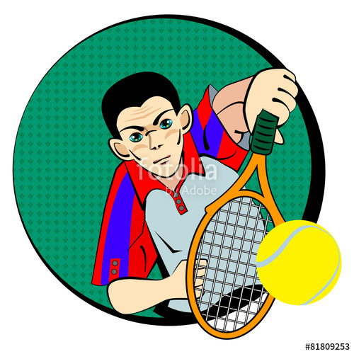 500x500 Drawing Of Tennis Man Player Symbol Stock Image And Royalty Free