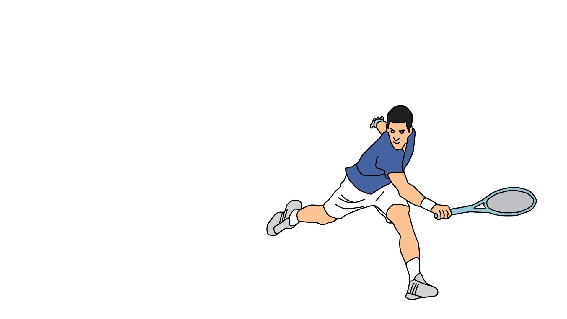 1920x1080 Animated Drawing Of Male Tennis Star Player Forehand Swing Follow