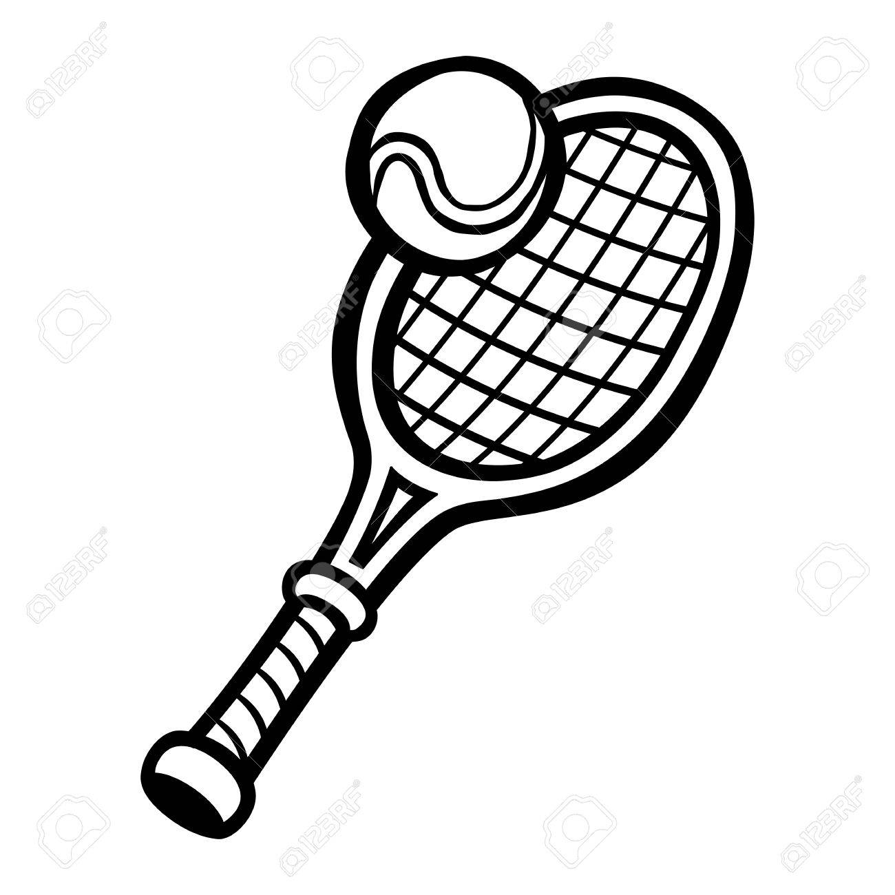 1300x1300 Tennis Ball And Racket Black And White Free Download Clip Art