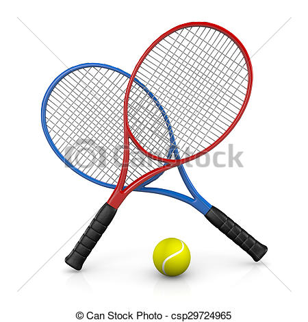 450x470 Tennis Match Two Tennis Rackets And One Ball Stock