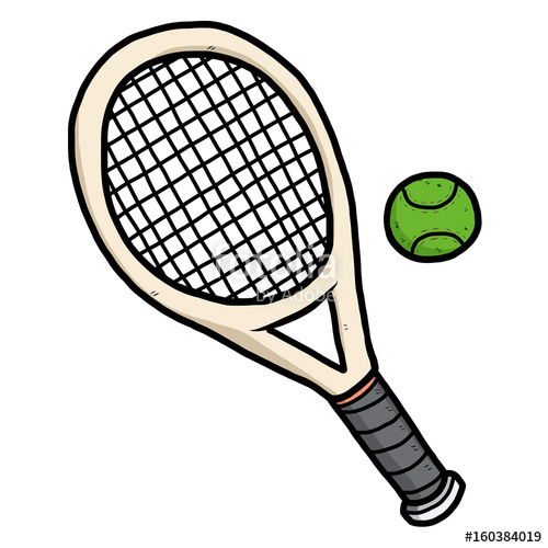 500x500 Tennis Ball And Racket Cartoon Vector And Illustration, Hand
