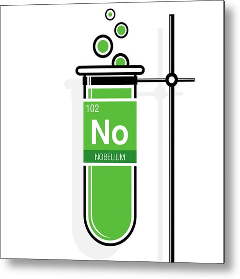 493x572 Nobelium Symbol On Label In A Green Test Tube With Holder Element