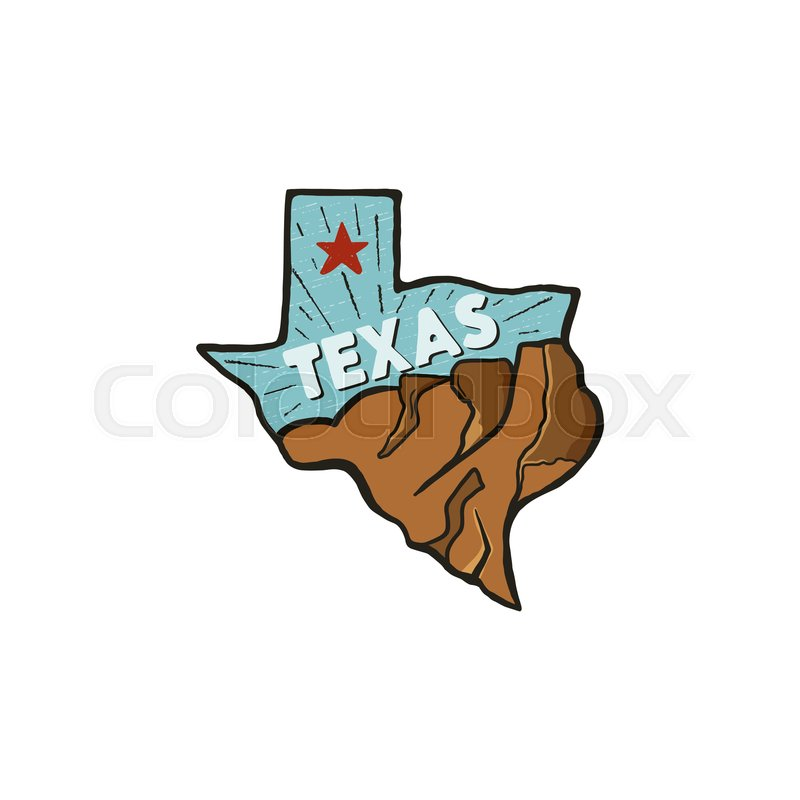 800x800 Vintage Hand Drawn Texas Badge State Stock Vector Colourbox