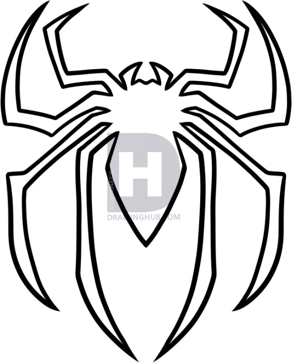 579x720 how to draw the spiderman logo, spiderman symbol, step
