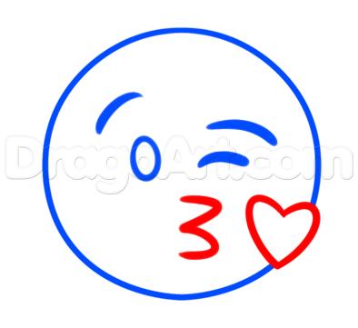 394x361 How To Draw The Kiss Emoji Step Art In Drawings, Emoji