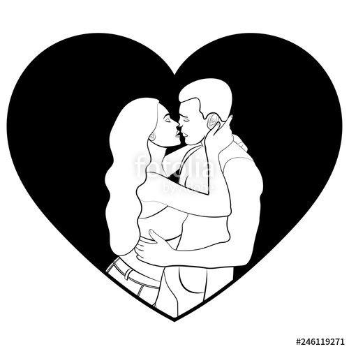 500x500 Couple In Love Silhouette, Icon, Sticker, Lovers White Man